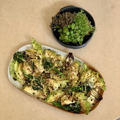 Warm Purple Sprouting and Romanesco Salad with Crispy Caper and Amalfi Lemon Vinaigrette