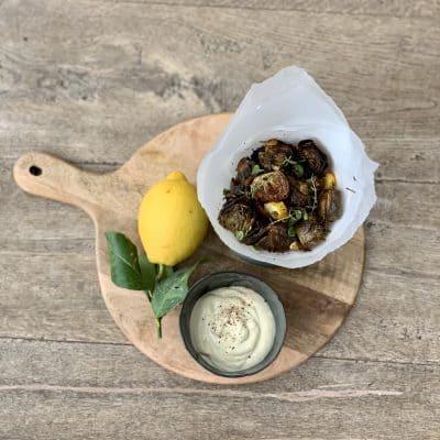 Roasted Baby Artichokes with Caramelised Amalfi Lemon and Garlic Cream